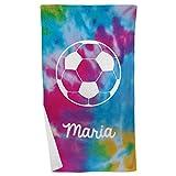 ChalkTalkSPORTS Personalized Soccer Tie Dye Beach Towel | Microfiber Towel