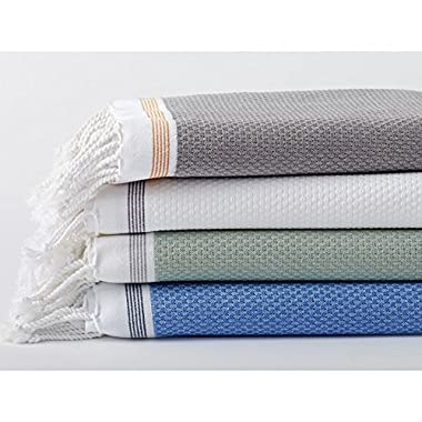 Coyuchi Organic Mediterranean Bath Sheet - Eucalyptus With Deep Pewter Stripe