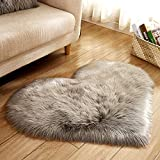 CqmzpdiC Fluffy Love Heart Shape Plush Rug Anti-Slip Carpet Door Mat Home Bedside Decor Soft Warm Cozy Romantic and Attractive Stylish and Modern Comfortable Practical Creative Rug Light Grey 40 * 50