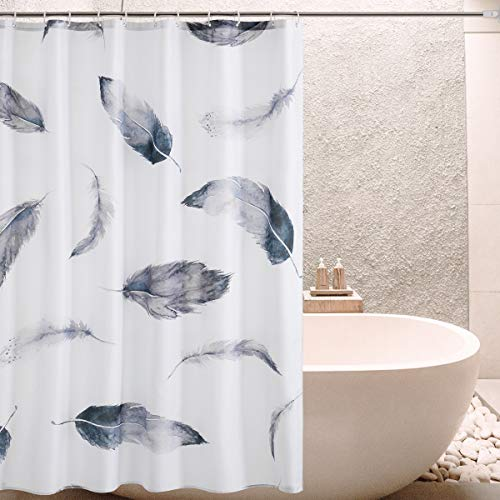(SyMax Printed Shower Curtain Fabric Waterproof Unique Curtains for Bathroom (W72xL72, Feather) )