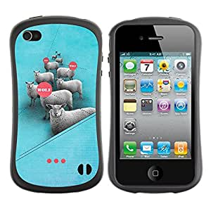 Suave TPU GEL Carcasa Funda Silicona Blando Estuche Caso de protección (para) Apple Iphone 4 / 4S / CECELL Phone case / / sheep sleep /