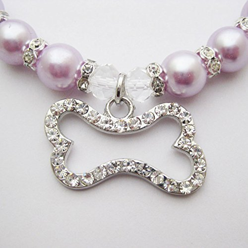 PETFAVORITES Engraved Crystal Bone Dog Necklace Collar Jewelry with Bling Pearls Rhinestones Charm for Pets Cats Small Dogs Girl Teacup Chihuahua Yorkie Clothes Costume Outfits (Purple, Size: 12''-14'')