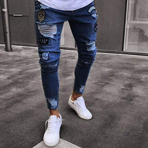 Frayed Di Skinny Classiche Estiva Uomo Dunkelblau Ragazzi Jeans Denim Stretch Biker Pants Pantaloni Base Closure Chiusura Strappati Slim Da 8w8ZzqvH