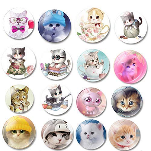 MGQFY 16 PCS Refrigerator Magnets,Funny Fridge Stickers for Stainless Steel refrigerator,Cat Pattern Refrigerator Magnet for Office, Calendar, Whiteboard Magnets (16 PCS Cat)