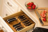 In-Drawer Bamboo Knife Block Holds 12 Knives (Not Included) Without Pointing Up PLUS a Slot for your Knife Sharpener! Noble home & chef Knife Organizer Made from Quality Moso Bamboo