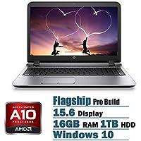 New HP Probook 15.6-inch Premium Laptop (2017 Model), AMD Quad Core A10-8700P up to 3.2GHz, 16GB RAM, 1TB HDD, AMD Radeon R6 Graphics, DVD+/-RW, HDMI, VGA, Bluetooth, Wifi, Webcam, Windows 10