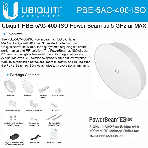 Ubiquiti PBE-5AC-400-ISO PowerBeam AC ISO 5GHz 25dBi 400mm ISO 450+Mbps 25+km by Ubiquiti Networks