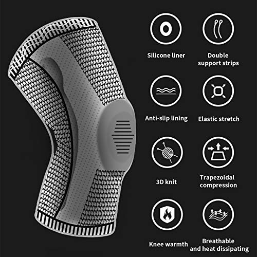 GIRYES Knee Support,Sports compression knee brace for relieve joint pain and arthritis,running,improve circulation,exercise, fitness Knee Sleeve ,men & women(L-gray)
