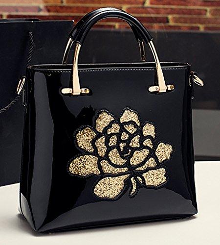 Mensajero Himaleyaz Flor Negro Del Cuero Mujeres De Bolso Bolsa La Con Las Lentejuela Vino Hombro Ajustable Italiano Correa Patente Rojo fRZr6Hf