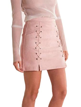 06dc195c7 GAGA Women's Sexy Lace Up High Waist Bodycon Faux Suede Split Tight Mini  Skirt at Amazon Women's Clothing store: