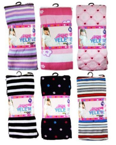 Girls Tights - Girls Fashion Hosiery Colored Tights (Assorted 3 Pairs) Size XS (1-12months)