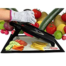 SimpliFine Mandoline Slicer with FREE Cut Resistant Gloves (Small) Vegetable Fruit Cutter - Best for Making Quick Healthy Salads - Professional Julienne Mandolin and Cutting Glove - Makes A Great Gift