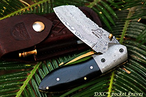 DKC-811-EXCALIBUR-Damascus-Steel-Folding-Pocket-Knife-45-Folded-75-Open-35-Blade-8oz-High-Class-Black-Bone-Feels-Great-In-Your-Hand-And-Pocket-Damascus-Bolster-DKC-Knives