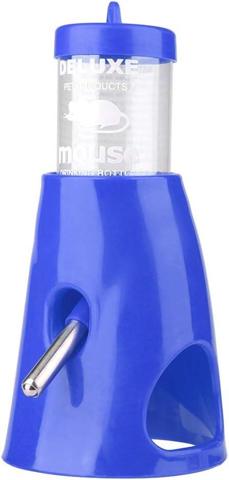 2-en-1 Casa de hámster a prueba de fugas Botella de agua para mascotas Bebedero Bebedero para animales pequeños Dispensador de bebida Alimentador para pájaros/erizos/hámsters/animales pequeños(Azul)