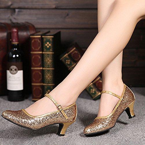 de Toe Tacón de Baile XFentech Estándar Gold Casual Closed Alto Mujer Zapatos Latino Lentejuelas wxvq6ZBF