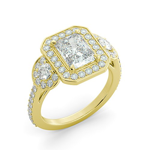 Halo Radiant Cut Forever One Charles & Colvard Moissanite & Round Cut Diamond Engagement 3 Stone Ring Solid 14k White Rose Yellow Gold 4.05 ct ()