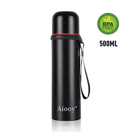 0.5L STAINLESS STEEL HOT COLD VACUUM THERMOS FLASK CARRY CASE DRINKS CUP SMALL