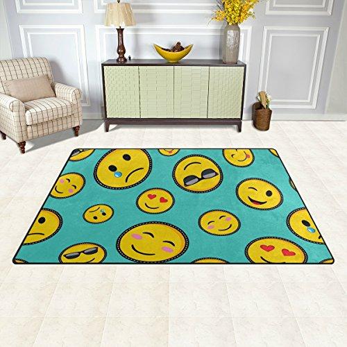 Amazon Com Deyya Non Slip Area Rugs Home Decor Emoji Smiley Floor