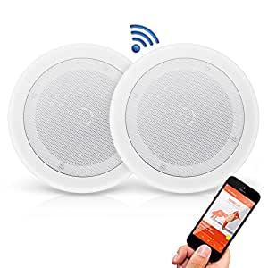Pyle Pair 8 Bluetooth Flush Mount In Wall In Ceiling 2 Way Universal Home Speaker System Spring Loaded Quick Connections Polypropylene Cone Polymer