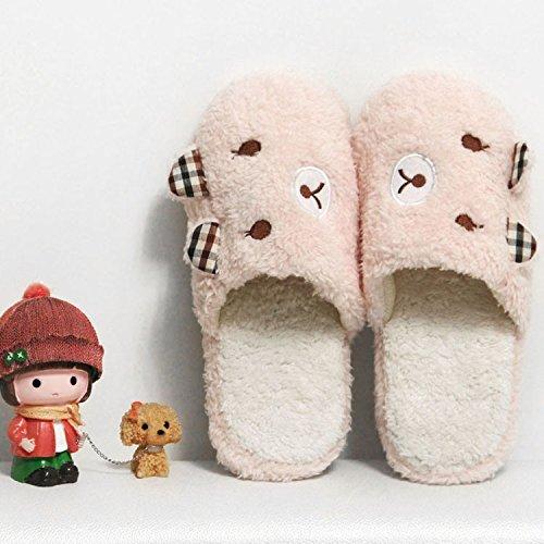 Cotone habuji pantofole per uomini e donne home inverno pantofole Cartoon carino autunno e inverno pavimento coperto il cotone scarpe antiscivolo per scarpe, 35-36, rosa chiaro