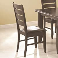 Set of 2 Dining Chairs with Slat Back in Cappuccino Finish