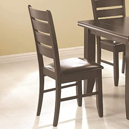 Charmant Set Of 2 Dining Chairs With Slat Back In Cappuccino Finish