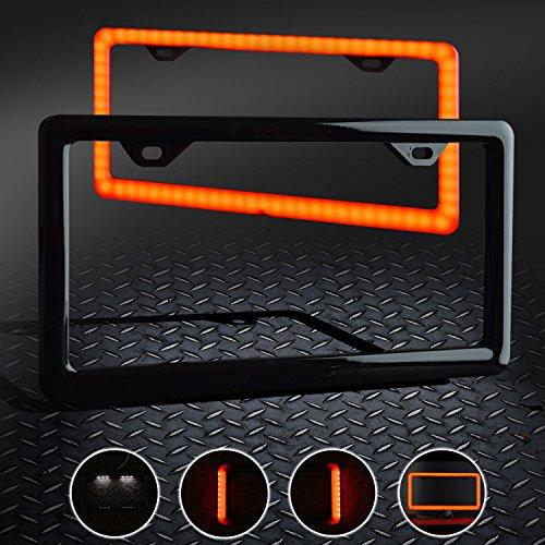 Car License Plate Frame Black Universal 12V LED Lighting 4 Functions- (NOT ()
