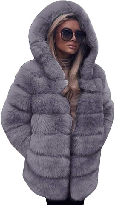 Manteau en Fausse Fourrure à Mode pour Femmes Automne et Hiver,Capuche Chaude Manteaux Femme Hiver Coat Fausse Fourrure Fox à Capuche Parka Blousons