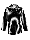 Charter Club Women's Plus Size Striped Anorak (2X, Deep Black Combo)