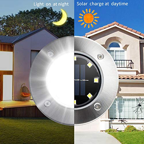 [8 Pack] Solar Ground Lights,Solar Garden Light,8 LED Garden Pathway Outdoor In-Ground Lights,Waterproof Stainless Steel Disk Flood Lights Dark Sensing Landscape Lighting for Lawn Yard Patio -White by HUYHU (Image #6)