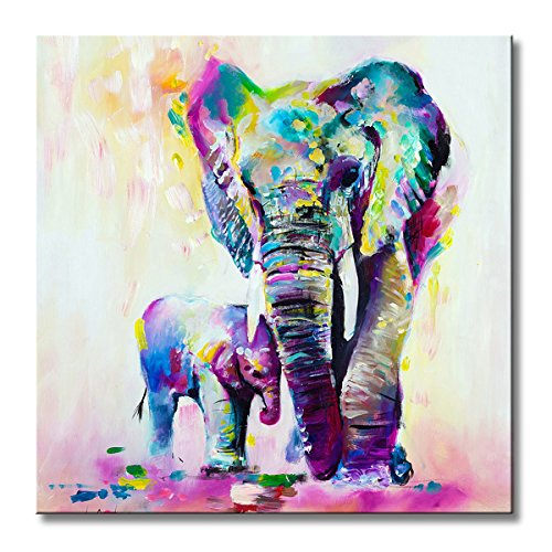 Oil Canvas Wall - FLY SPRAY 1 Panel Framed 100% Hand Painted Oil Paintings Canvas Wall Art Colorful Elephants Mom Child Animal Modern Abstract Artwork Painting for Living Room Bedroom Office Home Decoration