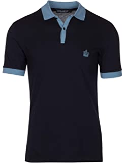 6384e1fe2 Dolce & Gabbana Men's Navy Crown 'Corona' Short Sleeve Contrast Polo Shirt
