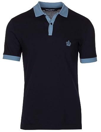 8a5268b23 Dolce & Gabbana Men's Navy Crown 'Corona' Short Sleeve Contrast Polo Shirt,  Navy