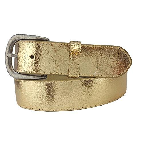 Rare Metallic Vintage Crack Leather Belt in Gold -