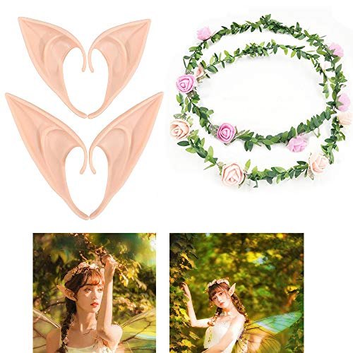 Pixie Dress Up - UCLEVER Latex Elf Ear with Flower