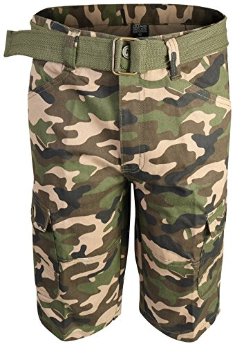 Quad Seven Boys Brushed Twill Cargo Belted Shorts, Khaki Camo, Size 6' - Boys Carpenter Shorts
