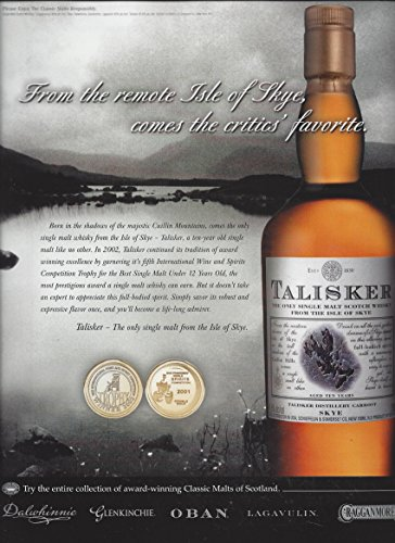 MAGAZINE ADVERTISEMENT For 2003 Talisker Scotch: From The Remote Isle of ()