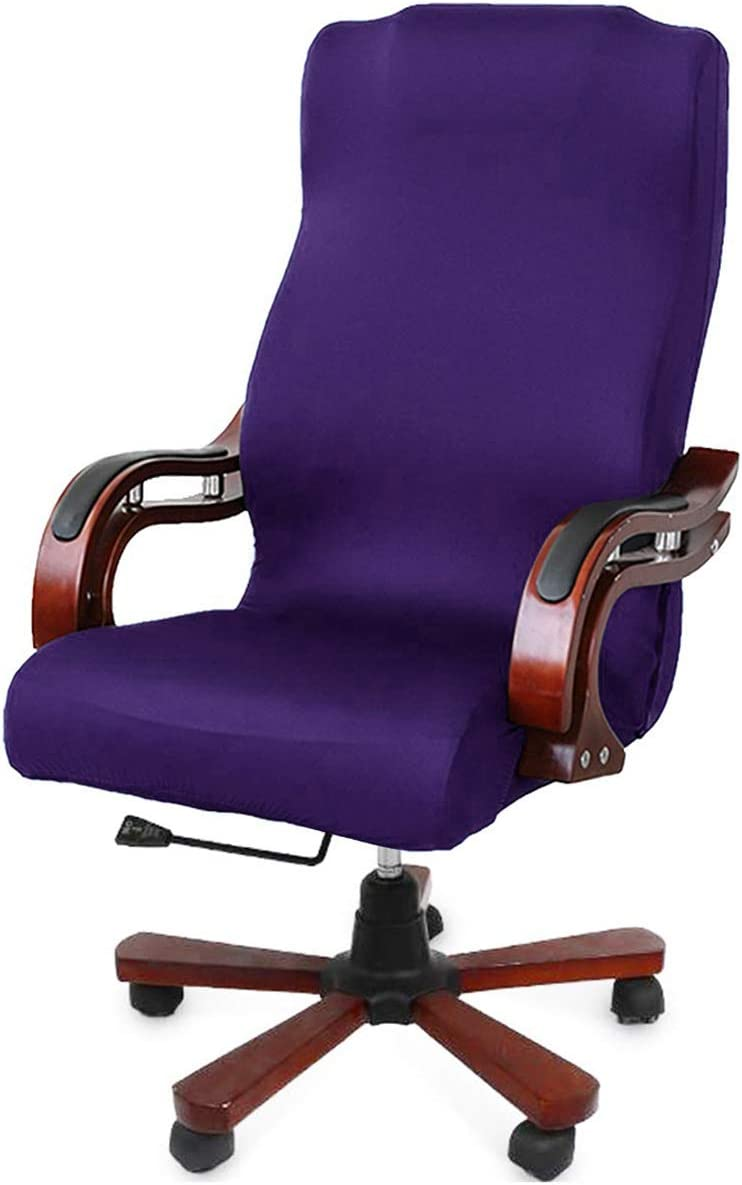 WOMACO Computer Office Chair Cover Desk Chair Slipcovers Water-Repellent Universal Boss Chair Covers High Back Chair Slipcover (180G-Purple, Large)
