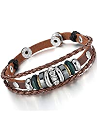 Brown Alloy Genuine Leather Bracelet Bangle CZ Adjustable Braided Tribal