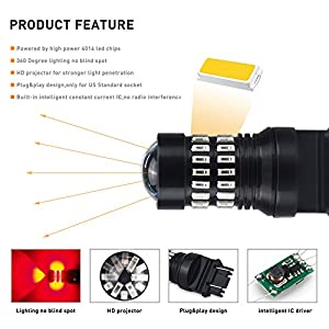 AUXITO Brilliant Red 3157 LED Bulbs Extremely Bright 48-SMD 4014 LED Chipsets 3156 3057 4057 4157 LED Bulbs with Projector for Brake Lights (Pack of 2)