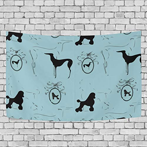 Shadimi Minimalist Poodle Black Blue Tapestry Large Wall Hanging Blanket Beach Carpet (90x60Inches)