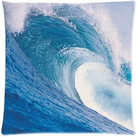 Big Ocean Waves Pillowcase Sea Surfing Waves Storm Cushion Case Decorative Square Throw Pillow Cover Cushion Case Pillowcase With Hidden Zipper Closure 18x18 Inches One Sided Print Home Kitchen