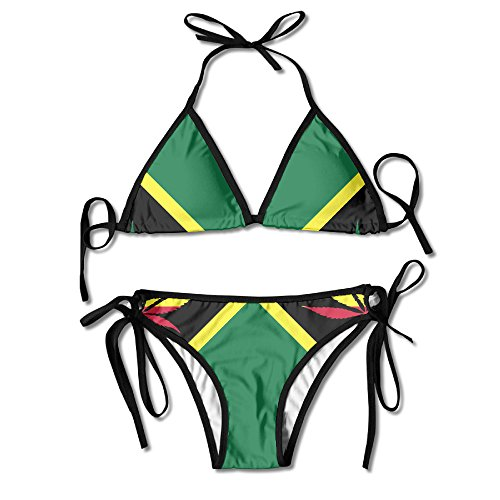 Jamaica Flag Weed Leaf Women's Sexy Thong Soft Padded Bikini Set Two Piece Swimsuits One (Pub Poker Set)