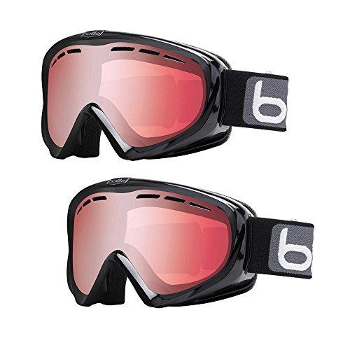 Bolle Y6 OTG Anti-Fog Snow/Ski Goggles (Black Frame, Vermilion Gun Lens, Medium to Large Adult Fit) 2-Pack