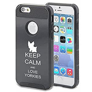 Apple iPhone 5c Shockproof Impact Hard Case Cover Keep Calm and Love Yorkies (Black)