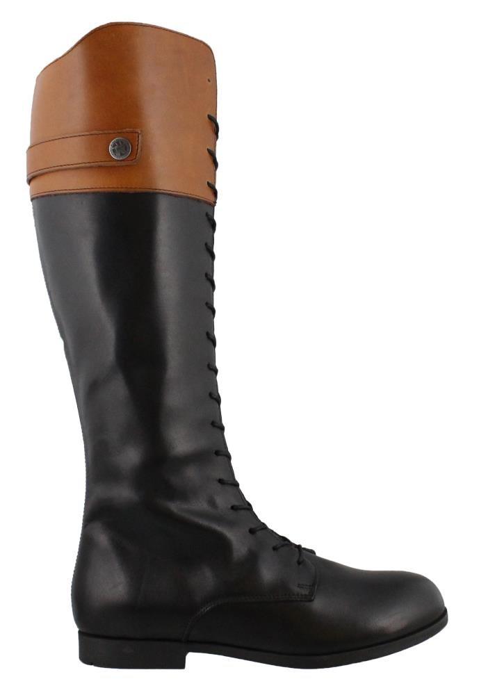 Birkenstock Women's Longford Boot Black/Camel Leather Size 41 M EU