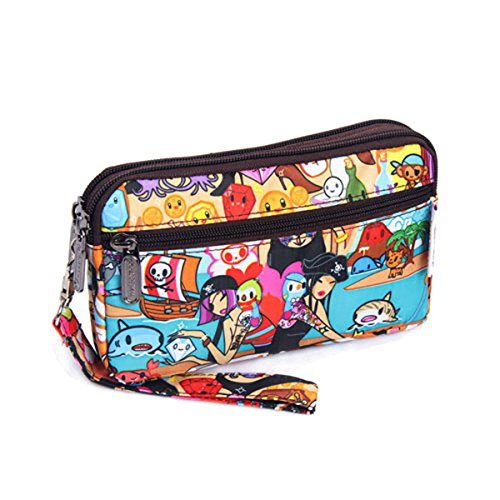 Womens Multi-functional Floral Wristlet Cluch Bag Handbag Zipper Purse Cell Phone Coin Pouch Wallet (Pirates, 18x4x10cm(LxWxH))