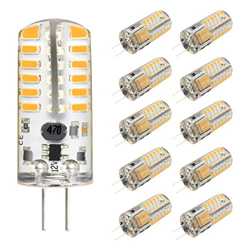 KINGSO G4 LED Bulb 10 Pack 3W Bi-Pin LED Light Bulb 48×3014 SMD 20W Halogen Bulb Equivalent Silicone Coated Shatterproof 220 Lumens 360° Beam Angle AC/DC 12V - Warm White
