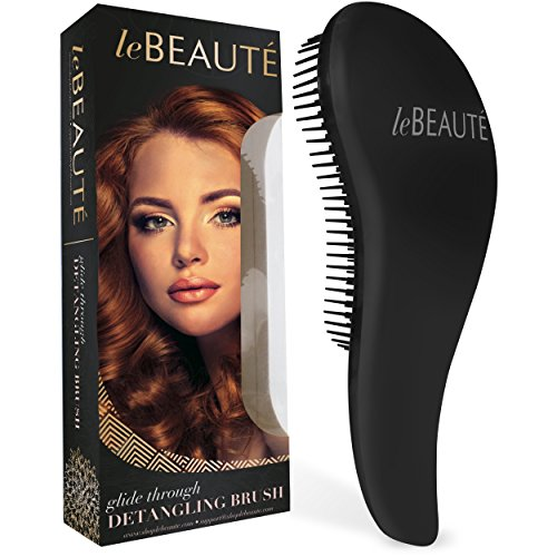 Le Beaute 100 Series Detangling Hair Brush - Professional Salon Quality Wet and Dry Brush for Tangles w/ No Pain - Perfect For Thick, Wavy, Curly, or Thin Hair on Women, Girls and Kids - Black