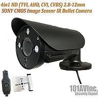 101AV Security Bullet Camera 1080P True Full-HD 4 IN 1(TVI, AHD, CVI, CVBS) 2.8-12mm Variable Focus Lens SONY 2.4Megapixel CMOS Image Sensor IR In/Outdoor DWDR OSD Camera (Charcoal)